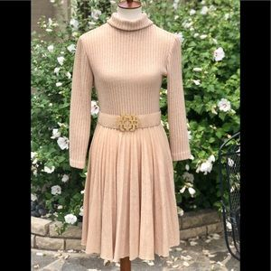 Vintage Nancy Greer tan belted sweater dress